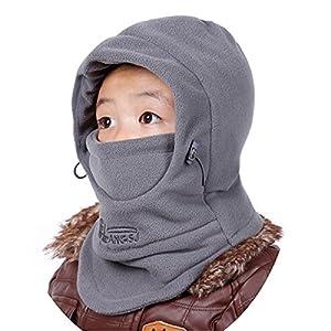 Azarxis Kinder Sturmhaube, Balaclava Fleece Ski Gesichtsmaske, Einstellbar Wintermütze mit Winterschal für Outdoor Sport