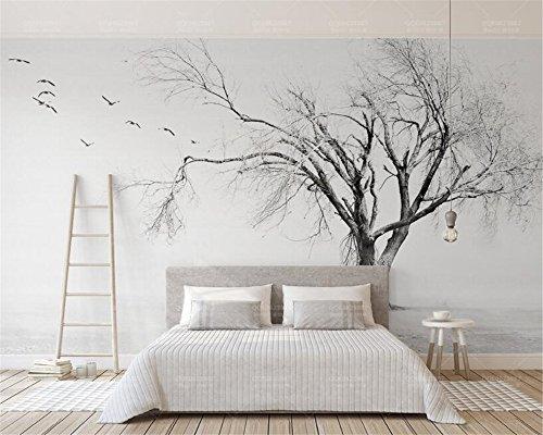 BHXIAOBAOZI Tapeten,Fototapete,3D Hintergrundbild Schwarz Und Weiß Baum Vogel Künstlerisches Konzept Nordic 3D Wallpaper Für Wohnzimmer Tv Hintergrund Schlafzimmer Wand Dekoration 330Cm(W)×210Cm(H)