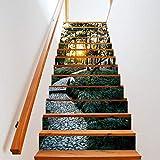 LIZHONGXUAN Adesivi Murali Decorativi Adesivi 3D Scala Foresta Di Montagna Personaggi Adesivi Murali Decorativi 13 Pezzi Di Adesivi Impermeabili 100 * 18Cm * 13Pcs