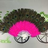 Igemy Mariage Showgirl Dance élégant Grande Feather pliant à la main Fan Décor Autocollant rose vif