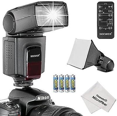 Neewer TT560 - Kit deflash Speedlite para Canon, Nikon y cualquier cámara digital con una zapata estándar, incluye: (1) TT560flash + (1) difusor de flash + (1) control remoto + (4) pilas + (1) paño de limpieza