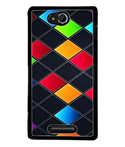 PrintVisa Designer Back Case Cover for Sony Xperia C (wider cubical boxes multi colored)