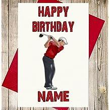 Golf Player personalisierbar Premium Elfenbeinfarben Geburtstagskarte