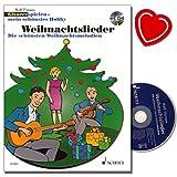 Weihnachtslieder Gitarre spielen - mein schönstes Hobby - Die schönsten Weihnachtsmelodien für Gitarre mit CD - Weihnachtslieder-Band von Rolf Tönnes mit bunter herzförmiger Notenklammer