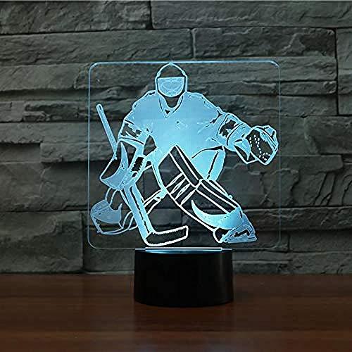 3D Nachtlicht NachtlichtÄndern Eishockey Goalie Modellierung Schreibtisch Tisch Sport Fans Geschenke Home Ing Decorhalloween Weihnachtsgeschenk