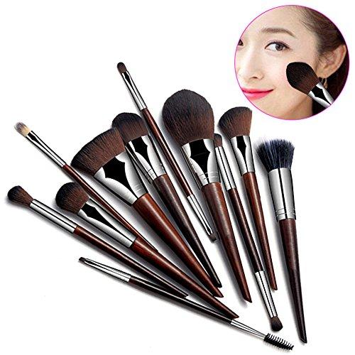 Hrph 11pcs Mode Rosewood Main Pinceaux Maquillage Poudre Correcteur Sourcils Eyeliner Blush