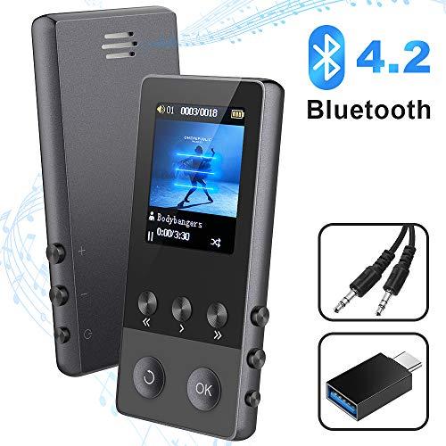 """Bluetooth MP3 Player, 8GB Digitale Musik MP4 Player mit Lautsprecher FM Radio Diktiergerät EBook Bilder Video Pedometer Schrittzähler, 1.8\"""" TFT Bildschirm, Unterstützt bis zu 128 GB Micro TF Karte"""