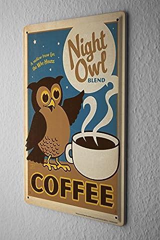 Plaque Émaillée Restaurant De Cuisines Décoration Chouette tasse de café Mur Publicité Signes En Métal 20X30 cm