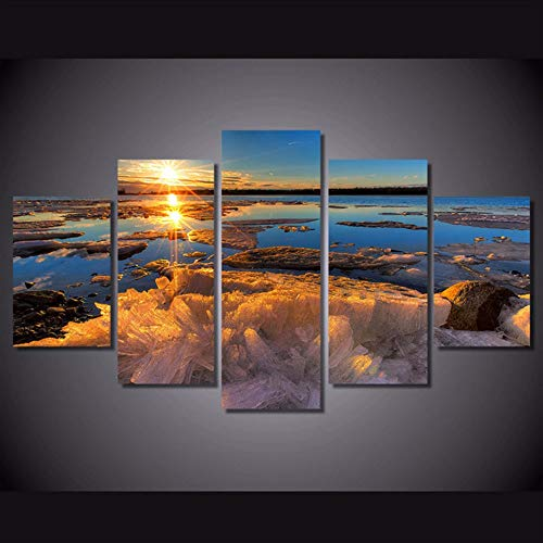 Wuwenw Abstract Painting Wall Frame Picture Home Decor Photo 5 Panel Ice Sea Sunset Frozen Lake Landscape Hd Print Canvas Poster,16X24/32/40Inch,Without Frame