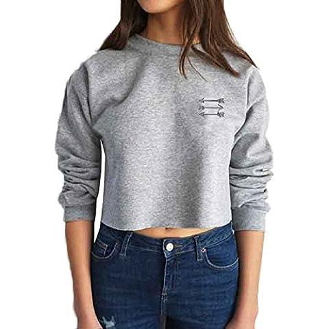 Sannysis Frauen Langarm-Leder Crop Tops Shirt Sweater (M, Grau)