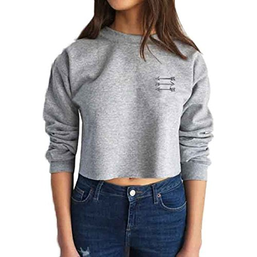 Sannysis Frauen Langarm-Leder Crop Tops Shirt Sweater (M, Grau) (Großen T-shirt Sherpa-fleece)