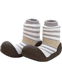 Attipas Beautiful Newborn 3-40 months Baby Boys Prewalker Soft Sole Grey-Brown Toddler Socks cum Shoes First Walking Booties, Grey-Brown