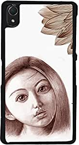 PrintVisa D7785 Girly Sad Sketch Case Cover for Sony Xperia Z2 (Multicolour)
