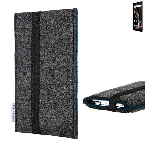 flat.design Handyhülle Lagoa für Allview X4 Soul Infinity Z | Farbe: anthrazit/blau | Smartphone-Tasche aus Filz | Handy Schutzhülle| Handytasche Made in Germany