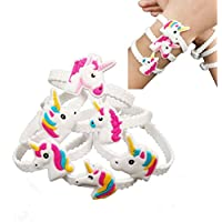 Gluckliy 24pcs PVC Rubber Unicorn Bracelets Wristband Party Favors Supplies for Kids Children Gift