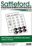 Sattleford Etiketten selbstklebend: 450 Etiketten oval 63,5x42,3 mm für Laser/Inkjet (Universal Inkjet Druck Etiketten)