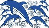 GRAZDesign 770063_57_052 Wandtattoo Delfine mit Muscheln und Seesterne | Wand-Aufkleber im Set 8 Delfine und 12 Muscheln in versch. Größen (100x57cm//052 azurblau)