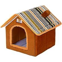 LvRao Pet Cuccia a Casa Letto Pieghevole Cuccia con Cuscino per Cani Gatti Morbido Caldo Divano Lettino Cestino per Cane (Marrone, L)