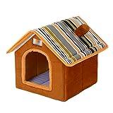 LvRao Pet Cuccia a Casa Letto Pieghevole Cuccia con Cuscino per Cani Gatti Morbido Caldo Divano Lettino Cestino per Cane (Marrone, M)