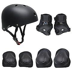 Idea Regalo - Set di casco, ginocchiere, gomitiere e guanti in gel per bambini, per hoverboard, scooter, BMX e bicicletta (Nero)