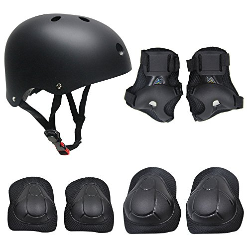 TOPFIRE Children's Scooter HoverBoard BMX Bike Helmet, Gel Knee, Elbow Pads and Hand Pads (Black)