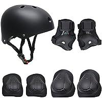 Set di casco, ginocchiere, gomitiere e guanti in gel per bambini, per hoverboard, scooter, BMX e bicicletta (Nero)