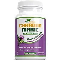 Chardon Marie - NATUREL 250mg, 120 gélules, 80% d'extrait de silymarine, Nettoyage détox naturel du foie et soutien de la fonction hépatique, stimule la digestion, fabriqué au Royaume-Uni par Vita Premium