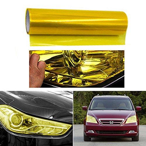 QEUhang 2 PCS Scheinwerfer Folie Tönungsfolie Aufkleber 120cm x 30cm für Auto Scheinwerfer Rückleuchten Blinker Nebelscheinwerfer (Gelb)