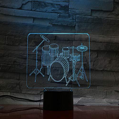 YDBDB Nachtlicht Tischlampe Nacht Jazz Drum Kit Set Multicolor Jungen Kinder Baby Geschenke Musikinstrument Atmosphäre Usb 3D Led Nachtlicht (Jungen-drum-set)