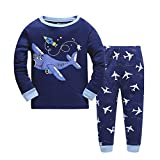 Qtake Fashion Baby Kinder Jungen Schlafanzug Lange Pyjama Set (110, Dunkelblau)