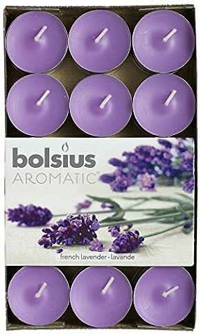 Lumignon aromatique «Lavande française» parfumé, bougie chauffe-plat, cire de paraffine, violet, Lot de 30