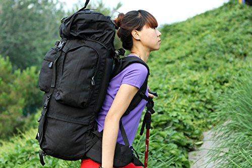 Camping, hiking Backpacking zaino 75L impermeabile di alta qualità + 10L viaggio trekking zaino Zaino borse, Black Black