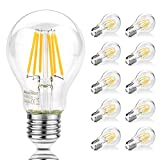 Ascher 10er Pack E27 LED Lampe,1000LM,8W, Ersatz für 75W Halogenlampen, Warmweiß 2700K, Nicht Dimmbar, LED Birne als Kolbenlampe, Klar, E27 Retrofit Classic