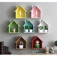 jellbaby creativo pequeña casa Multi–propósito multi–carne planta estantes cuadro decorativo de madera colgante * 1pc 19*24*9cm marrón