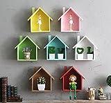 jellbaby creativo pequeña casa Multi-propósito multi-carne planta estantes cuadro decorativo de madera colgante * 1pc 19*24*9cm marrón