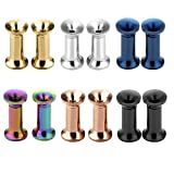 JSDDE Piercing,12er Set 6-Farben Edelstahl Schraub Tunnel Plugs Double Flared Flesh Tunnelset 3mm-25mm Ohrpiercing(3mm)