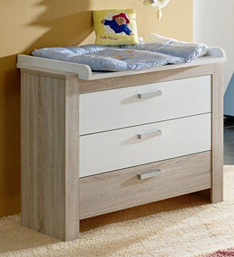 Preisvergleich Produktbild Dreams4Home Wickelkommode 'Ruby', Wickeltisch Kommode Babyzimmer Kinderzimmer, Sonoma Eiche sägerau weiß matt