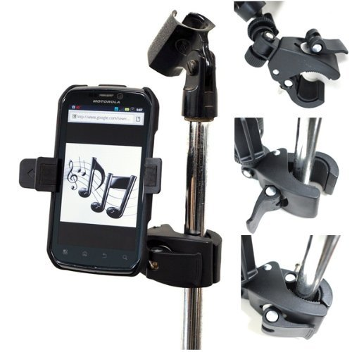 ChargerCity Music Mic Microphone Stand Smartphone Mount with Multi Angle Adjustment 360° Swivel Holder for Apple iPhone 6 Plus 5s 5c 5 4s Samsung Galaxy S5 S4 A5 A4 Note 4 3 2 Edge Google Nexus 4 5 6 HD HTC One Max LTE Motorola Moto X Droid Turbo LG G3 G4 phones (Fits Protective Case Also)