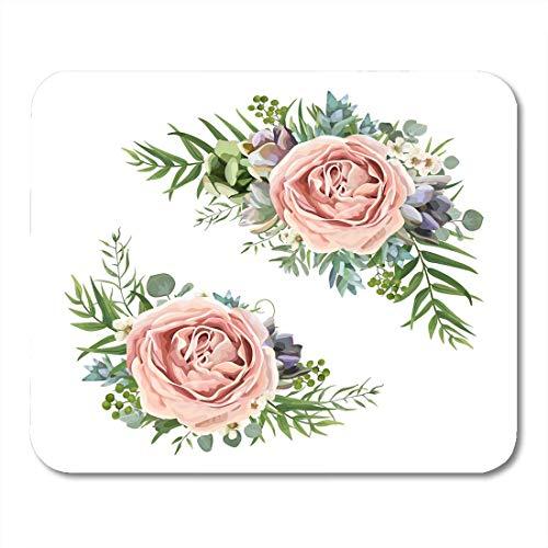 Luancrop Mauspads Blumenstrauß-Garten-Rosa-Pfirsich-Lavendel-Rosen-Wachs-Blumen-Eukalyptus-Niederlassungs-Grün-Farn-Palmblatt-Mausunterlage für Notizbücher, Tischrechner-Mausunterlagen, Bürozubehöre