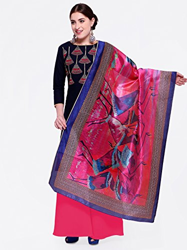 Blissta Blue Heay Embroidered And Fancy Border With Printed Dupatta