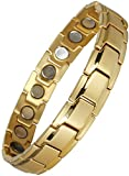 Original YINGA-VITAL® Magnetschmuck Herren Armband. Extrastarke 4000 Gauss Magnete. 18 Magnete. Magnetarmband in Stil Gold, Länge 19,5cm