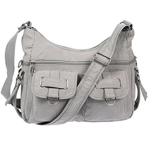 Christian Wippermann Damenhandtasche Schultertasche aus Canvas (Hellgrau) Hellgrau