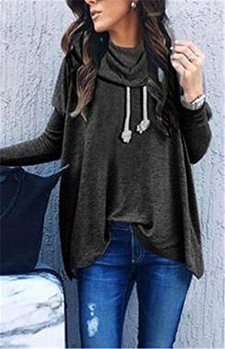 AILIENT Allentato Donne Felpa Taglie Forti Casuale Alta Colletto Maglie A Manica Lunga Pullover Puro Colore Autunno Invernale Black