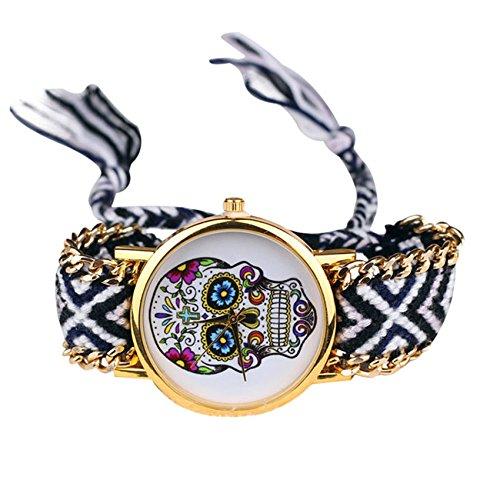 réf1s47BR.50–Reloj Pulsera tejida negro blanco y gris–diseño de calavera mexicana Hippie Bohemia–Cadena Dorada–ajustable–estilo Boho Chic