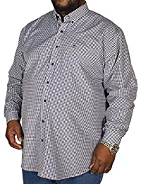 c26ee482cfcf Espionage Big Mens Gingham Long Sleeve Shirt Navy/White 2XL 3XL 4XL 5XL 6XL  7XL