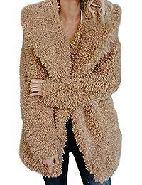 Lazzboy Womens Jacket Coat Long Sleeve Faux Fur Fluffy Fleece Notch Collar  Warm-up Outerwear a25d6d48e