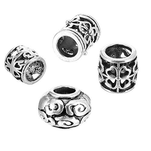 40 Pièces Perles de Cheveux Dreadlocks Beads Perles Tressage des Cheveux Bijoux Accessoires de Décoration de Cheveux, 4 Styles, Argent Tibétaine