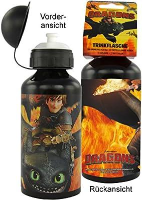 Dreamworks Dragons Trinkflasche / Wasserflasche Ohnezahn und Hicks Flammen Motiv