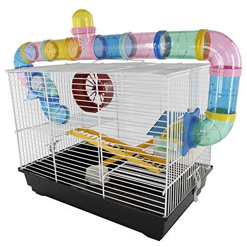 Pawhut Cage pour Hamsters Souris Petits rongeurs 2 étages 2 échelles Tunnels maisonnette Roue 62L x 29l x 52H cm Acier Blanc PVC Noir