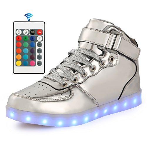 AFFINEST LED Cambi- Sneaker Scarpe Unisex Bambini Presa USB Sport Regali Ragazza Ragazzi Scarpe Telecomando(silver,38)